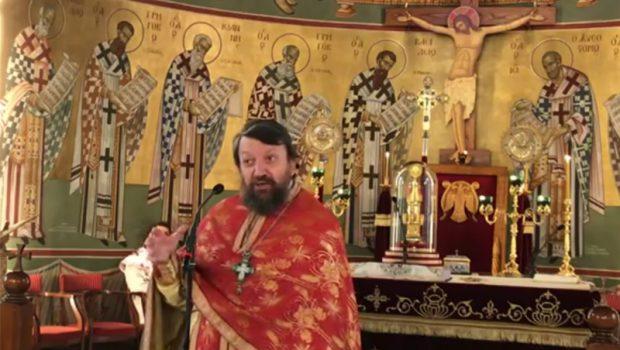 Ο π. Γεώργιος Μίλκας κηρύττει στον Ι. Ν. Ευαγγελισμού